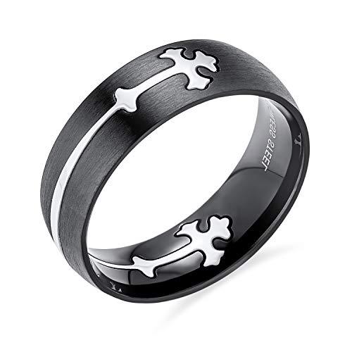 Herren Religiöse Maltase Fleur De Lis Kreuz Schwarz Puzzle Hochzeit Band Ring Für Männer Silber Ton Edelstahl