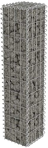 Defacto Gabionen-Steinsäule Eckig Dekorative Gabionensäule für den Außenbereich, Drahtstärke: 4mm, Inkl. 4 Distanzhalterung DF-GBS20125