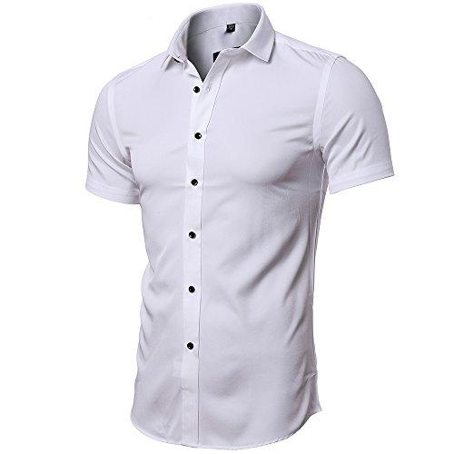 INFLATION Herren Hemd aus Bambusfaser umweltfreudlich Elastisch Slim Fit für Freizeit Business Hochzeit Reine Farbe Hemd Kurzarm Herren-Hemd Weiß DE M (Etikette 41)