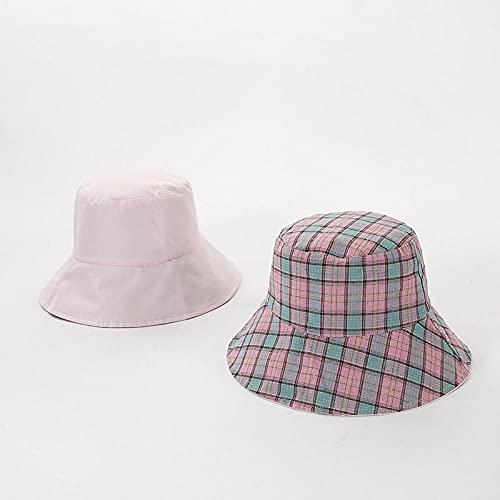 Bucket Hat Hut Damen Herren Frauen Plaid Panamahut Frauen Sonne Doppelseitige Sonnenschutz Eimer Hüte Weiblicher Sonnenschutz Sonnenschutz Caps-Pink