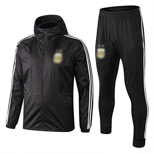 THUK 18-19 Argentinien Fußballtrainingsanzug, kurzärmelige Sportkleidung Trainingsanzug, Outdoor Sports Herren Kurzgezeichnete Sportbekleidung (S-XXL) XXL