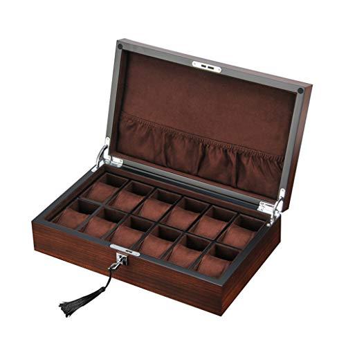 HöLzerne Uhrenbox Zebra Furnier Multifunktionsgitter 12 Mit Hardware Lock Schmuck Aufbewahrungskollektion Display Box Travel - Hellbraunes/Dunkelbraunes Futter