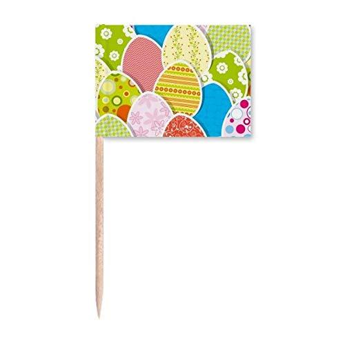 Ostern Festival niedliche bunte Eierkultur Zahnstocher Flaggen Marker Topper Party Dekoration