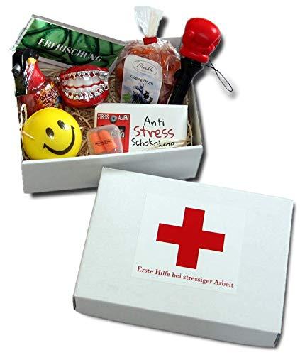 Geschenkbox Erste Hilfe bei stressiger Arbeit | lustige Geschenke Büro Firma | witziges Geschenk Kollege | Anti-Stress Geschenke Box Arbeit | Geschenkideen Kollegen