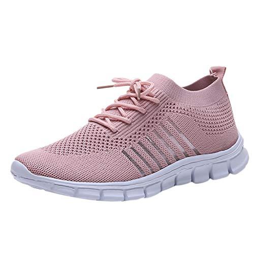 Damen Laufschuhe Fliegen Weben Sneaker Socken Schuhe Turnschuhe Freizeitschuhe Student Leichte Sportschuhe für Trainning Running Fitness Gym Walking Jogging Laufen, Rosa, 38 EU