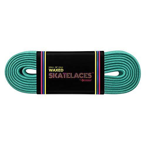 Bont Skates gewachste Schnürsenkel – Rollerfigur Inline Hockey Derby Quad Skate Schuhe – 6 mm & 8 mm – 180,3 cm 200,7 cm 243,8 cm 274,3 cm – Nebel Blaugrün (8 mm breit)