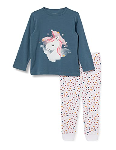 NAME IT Mädchen Nkfnightset Real Teal Unicorn Noos Pyjamaset, 110-116 (2er Pack)