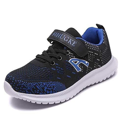FIHUGKE Kinder Schuhe Sportschuhe Ultraleicht Atmungsaktiv Turnschuhe Klettverschluss Low-Top Sneakers Laufen Schuhe Laufschuhe für Mädchen Jungen, Schwarz Blau A, 29 EU