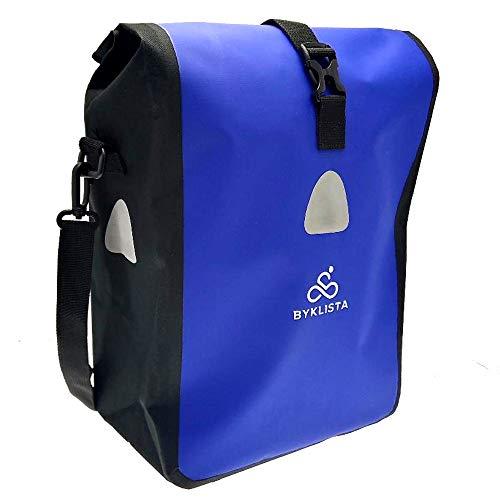 BYKLISTA Fahrradtasche Gepäckträger Wasserdicht mit Reflektoren & Schultergurt + Gratis eBook – hochwertige Fahrrad Gepäckträgertasche für Fahrrad Tasche – Fahrradtaschen in Blau, 16 L