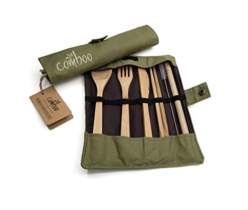comboo® - Bambus Besteck Set   Reisebesteck   umweltfreundliches Besteckset   Messer, Gabel, Löffel, Stäbchen und Strohhalm  Besteck Holz   Besteck für unterwegs inkl. Tasche I (grün, 20)