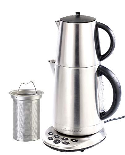 Rosenstein & Söhne Glas Wasserkocher: 2in1-Edelstahl-Wasserkocher WSK-250.set & Teekanne (Teezubereiter)