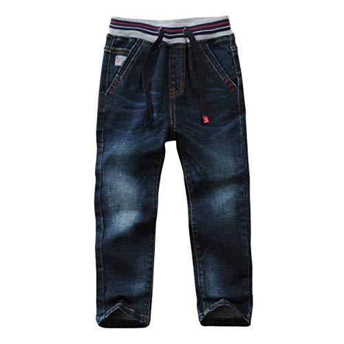 LAPLBEKE Jungen Jeans Kordelzug Bund Jeanshose Straight Fit Denim Hosen für Kinder Blau 116 122
