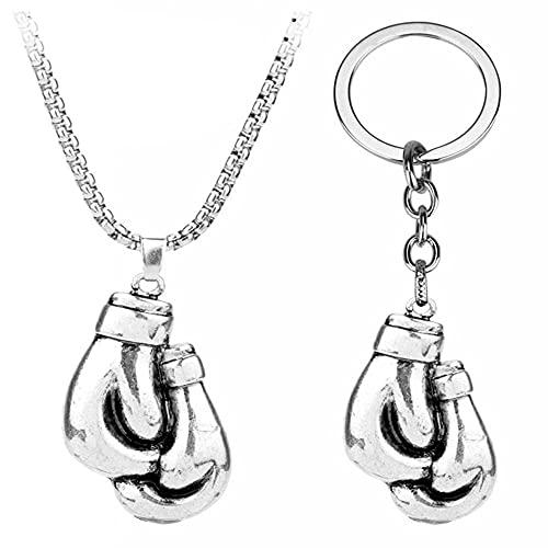WEIYIing Sport Gym Jewelry Halskette Paar Boxen Handschuh Pendant Link Kette Metall Schlüsselanhänger Männer Halsketten Charme Geschenk 2 Stück