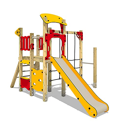 WICKEY Öffentlicher Spielturm PRO MAGIC Smile - Klettergerüst mit Rutsche, Kletternetz & Spiel-Zubehör
