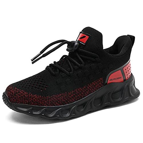 TUDOU Unisex-Kinder Sportschuhe Kinder Schuhe Turnschuhe Outdoor Laufschuhe Atmungsaktiv Leicht Laufschuhe Hallenschuh für Jungen Mädchen 29-39 (RotA, Numeric_38)