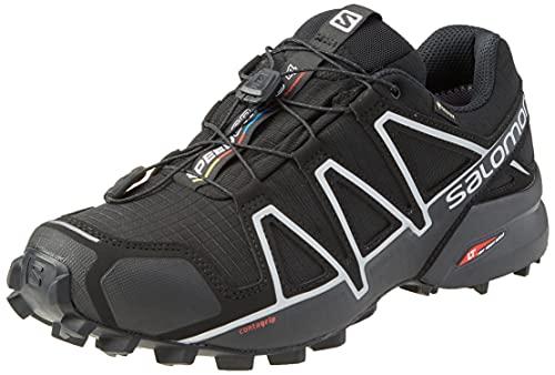 Salomon Speedcross 4 Gore-Tex (wasserdicht) Herren Trailrunning-Schuhe, Schwarz (Black/Black/Silver Metallic X), 43 ⅓ EU
