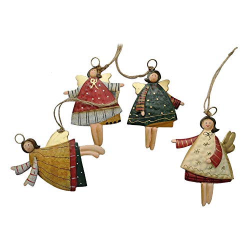 weihnachten engel anhänger - 4 Metall Engel Anhänger Weihnachts dekoration Hängender Schmuck von Innovativen Elchform Socken Schneeflocken für Weihnachtsbaum Fensterschmuck