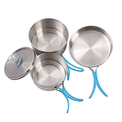 ysgbaba Neuer 304 Edelstahl-Camping-Topf tragbarer, faltender Outdoor-Topf mit Silikon-Griff-Picknick-Set (Color : Silver)