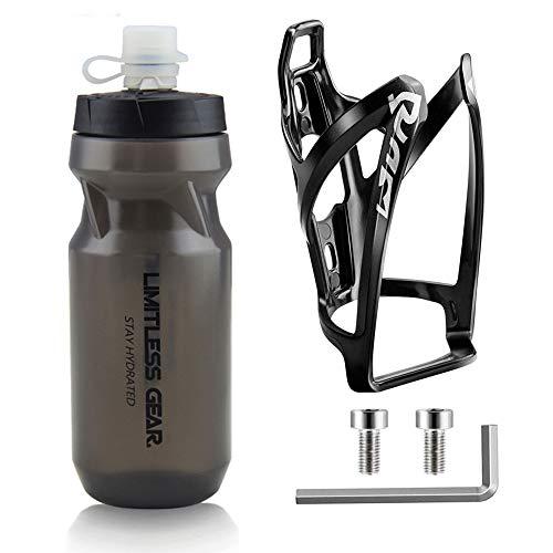 OSIGEI Fahrrad Flaschenhalter mit 21 Oz Fahrradflasche, Leicht GeträNkehalter Fahrrad mit Schrauben - BPA Frei Fahrrad Trinkflasche für Fahrrad, Rennrad, Mountainbikes, ElektrofahrräDer (Schwarz)