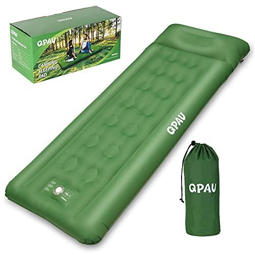 QPAU Isomatte Camping, Aufblasbare Luftmatratze mit Fußpresse Pumpe für Backpacking und Wandern, Kompakte und Ultraleic