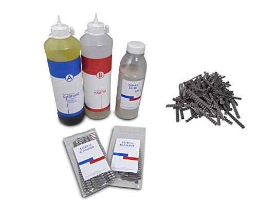 Reparaturset zur Risssanierung in Estrich und Beton, 600g Quarzsand, 40 Stück Estrichklammern, Schnellreparaturharz 600 ml