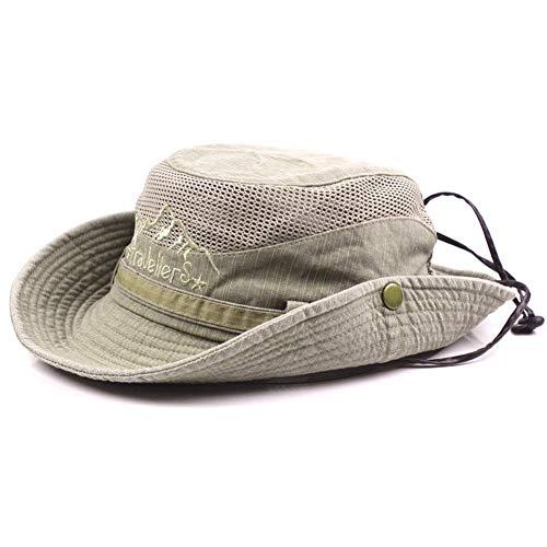 AoJuy Herren Baumwolle Geprägt Hut, Außen Sonnenschutz Breite Krempe Faltbar Dschungelhut Fischerhut für Angel Wandern - Khaki