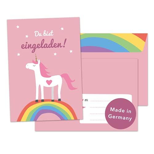 Decento® Einladung Geburtstag Einhorn - 8 Karten mit Umschlag für Mädchen - Kindergeburtstag niedlich mit Regenbogen - Einladungskarten für Kinder zum Ausfüllen und Beschriften