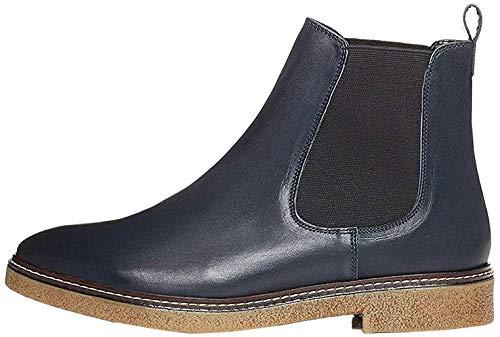 Amazon-Marke: find. Damen Chelsea Boots aus Glattleder, mit Kreppsohle, Blau Navy), 39 EU