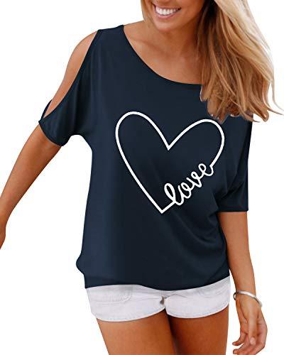 YOINS Bluse Damen Kurzarm Schulterfrei Oberteil Damen Off Shoulder Top Sommer Carmen Shirt Feder Love-dunkelblau M