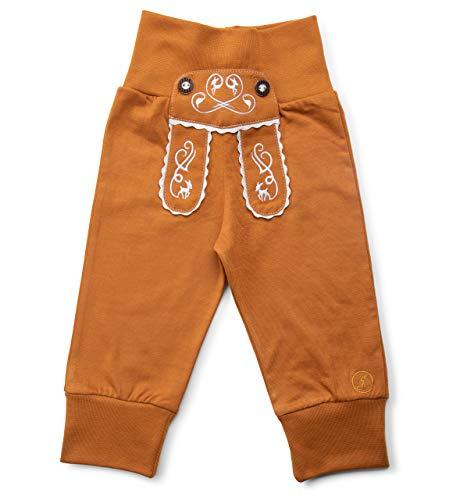 Schöneberger Trachten Couture Baby Stoffhose im Lederhosen Design – Babyhose mit elastischem Bund – Mädchen Pumphose Kinderhose REH (98/104, Hellbraun)