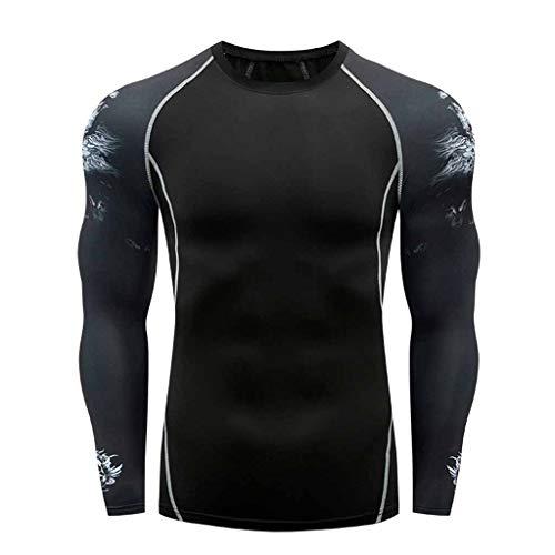 BOOMJIU Herren Langarm Kompressionsshirt langärmlig Rundhals-Ausschnitt Unterhemd Funktionsshirts Sport Langarmshirt Trainingsshirt