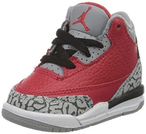 Nike Jungen Jordan 3 Retro Se (Td) Basketballschuh, Rot (Fire Red/Fire Red-cement Grey-black), 18.5 EU
