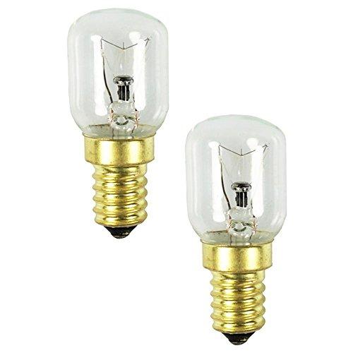 com-four® 2x Backofen-Lampe bis 300° C, warm-weiße Herd-Glühbirne 25W, E14, 230V (02 Stück - 25W goldfarben)