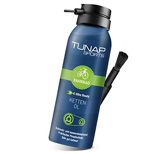 TUNAP SPORTS Kettenöl Spray und Dosier-Pinsel, 125 ml   Fahrrad Langzeit-Schmierung für Ritzel, Schaltwerk und Kette (E-Bike Ready)