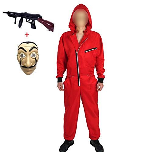 Yigoo Karneval, Halloween Fasching Kostüm Overall mit Maske und Spielzeugpistole Cosplay für Herren, Damen Erwachsene Rot L