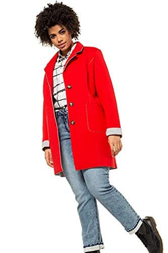 Ulla Popken Damen große Größen Übergrößen Plus Size Scuba-Mantel, Revers, Warmer Doubleface-Jersey neonrot 50/52 727084 51-50+