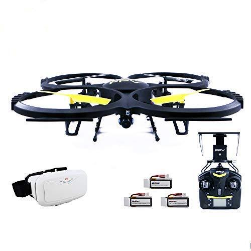 efaso Drohne Quadcopter U818A WiFi 2.0 MP FPV mit 3D VR Virtual Reality Brille + 2 x Zusatzakku