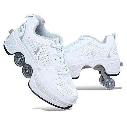 WYEING. Inline-Skate, 2-In-1-Mehrzweckschuhe, Verstellbare Quad-Rollschuh-Stiefel, Multifunktionale Deformation Schuhe Quad Skate Rollschuhe Skating Outdoor Sportschuhe Für Erwachsene,Weiß,36