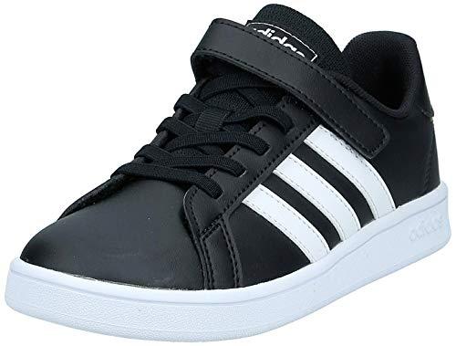 adidas Unisex Kinder Grand Court C Sneaker, CBLACK/FTWWHT/FTWWHT, 35 EU