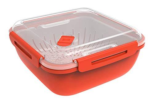 Rotho Memory Microwave Dampfgarer 1,7l mit Siebeinsatz für Mikrowelle , Kunststoff (PP) BPA-frei, rot/transparent, 1,7l (19,5 x 19,5 x 9,1 cm)