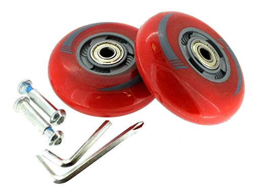 2 Stück Inliner-Rollen LED Licht Leuchtrollen leuchtende Rollen 80mm Waveboard ABEC 5-7 (Rot)