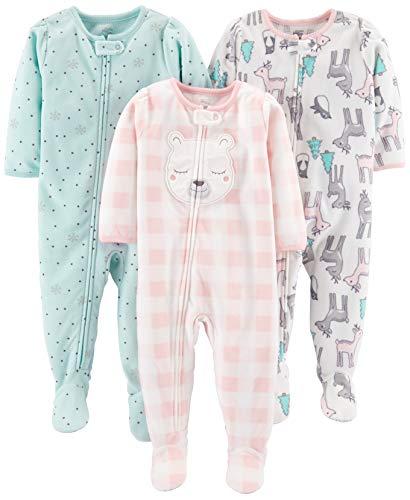 Simple Joys by Carter's Baby und Kleinkind Mädchen 3er-Pack, lockere Passform, Fleece-Schlafanzug ,Pink Deer/Blue Snowflakes/Pink Check ,12 Months