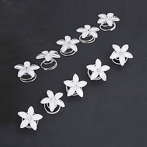 Haarspiralen Haarspinnen,12 Stück Weiß Blumen Brauthaarschmuck Hochzeit Brautschmuck Braut Haarschmuck Haarklammer