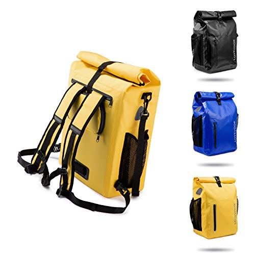LOVEVOOK Fahrradtasche für Gepäckträger, 100% Wasserdicht 3 in 1 Reflektierend Fahrradrucksack Gepäckträgertasche Umhängetasche, Radsport Rucksack mit Abnehmbare Laptoptasche, für Herren Damen Gelb