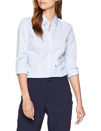 Seidensticker Damen Hemdbluse Langarm Slim Fit Gemustert Bügelfrei Bluse, Blau (Hellblau 11), 48