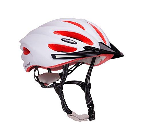 HUDORA Fahrrad-Helm Basalt Damen Herren, Fahrrad-Helm Rad-Helm Gr. 52-55, weiß/orange