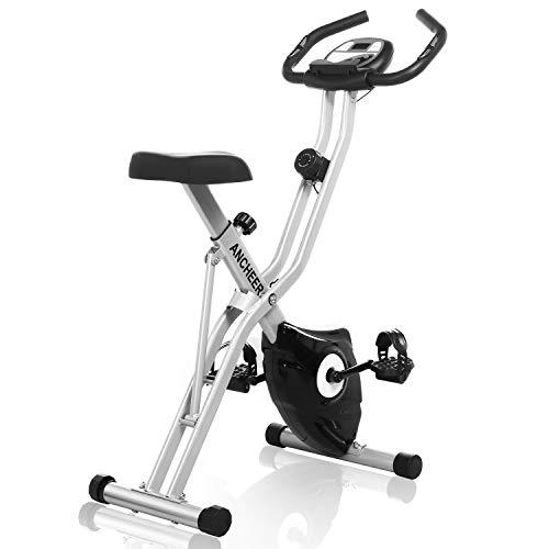 ANCHEER F-Bike Heimtrainers, Klappbar Hometrainers mit APP LCD-Display, Fitness Fahrrad mit 10 Widerstandsstufen, Handpulssensoren für Zuhause Büro Training