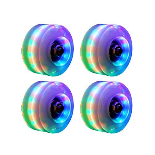 Urstory1 4 leuchtende Rollschuh-Räder, Quad Rollschuh-Räder, vielseitige Skating-Räder mit Kugellagern, LED-Lichtern innen, 58 x 32 mm, 82 A