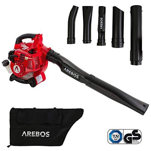 Arebos 3-in-1 Benzin Laubsauger   700 W   inkl. 45 L Auffangsack   mit Saug-/ Blas- und Häckselfunktion   massive Häckselkralle 7500 U/min