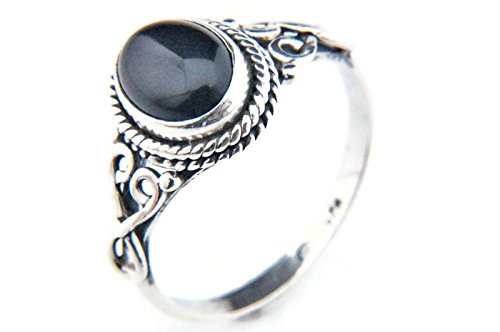 Ring Silber 925 Sterlingsilber Onyx schwarz Stein (Nr: MRI 42), Ringgröße:56